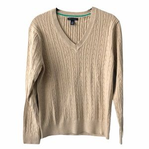 Tommy Hilfiger Beige Tan Cable Knit V Neck Sweater